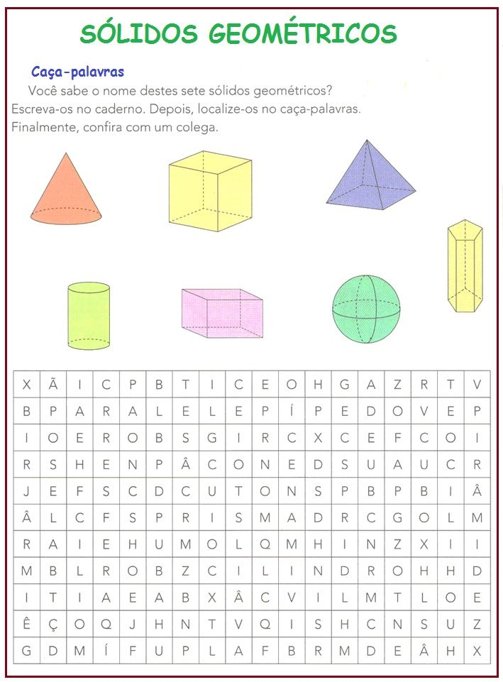 Sólidos Geométricos | Sala de Aula – Profª Rérida