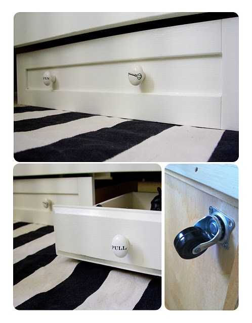 rolling under bed storage out of old drawers diy pinterest need to under bed and bed storage. Black Bedroom Furniture Sets. Home Design Ideas