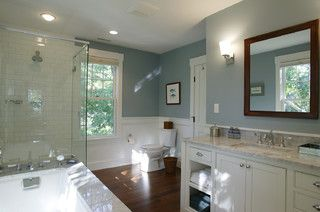 Great warm blue for a bathroom. Lulworth Blue No. 89 from Farrow-Ball