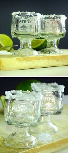 Patron Tequila Mini Shot Glasses // SO cUte! #DIY #recycle