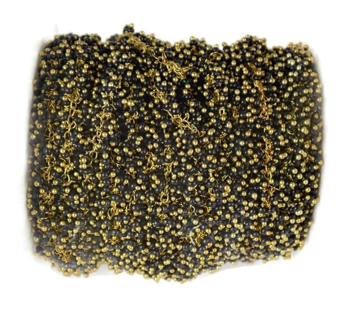 1 Feet Black Spinel Hydro 24k Gold Plated Delicate Dangling Beaded Chain 2-2.5mm
