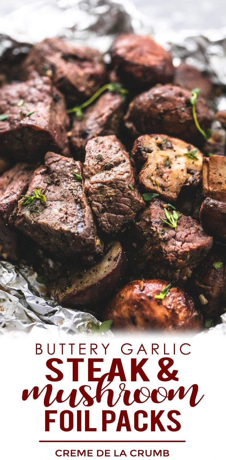 Packets of steak leaves and mushrooms in butter and garlic   – Grilling