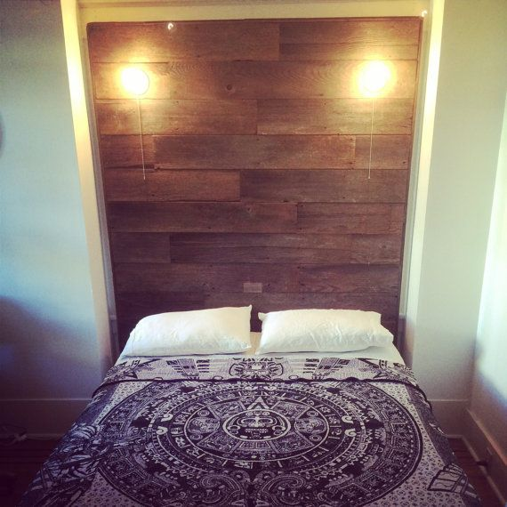 Barn-Wood Headboard with built in lights by JSReclaimedWood