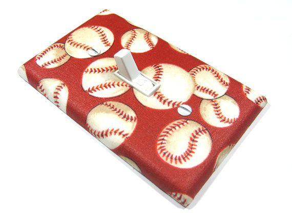 Light Switch Cover Red Baseball Sports Nursery By