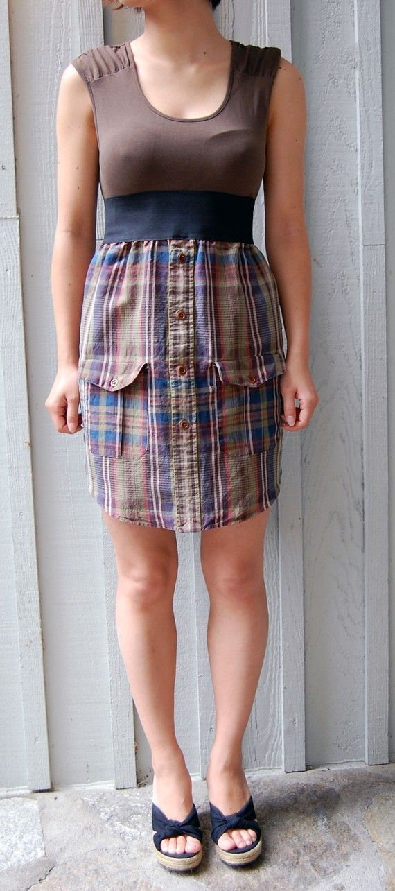 Upcycled dress made out of a multicolored plaid mens dress shirt with a dark green tshirt - It's a great outfit. One of a kind.