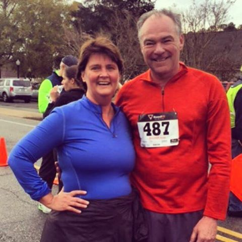 Image may contain: 2 people , people smiling , outdoor Tim Kaine and his wife