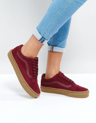 d74e9a16c4 Vans Suede Old Skool Sneakers In Burgandy With Gum Sole