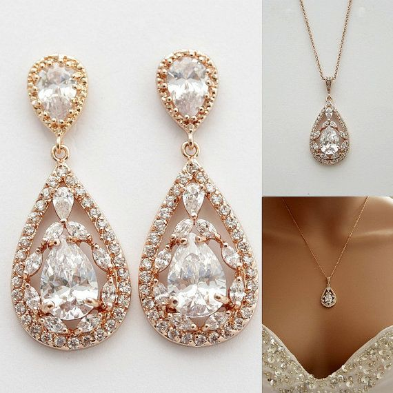ROSE GOLD Jewelry Set Pink Gold Wedding Earrings and Necklace Set Cubic Zirconia Large Teardrops Bridal Jewelry Crystal
