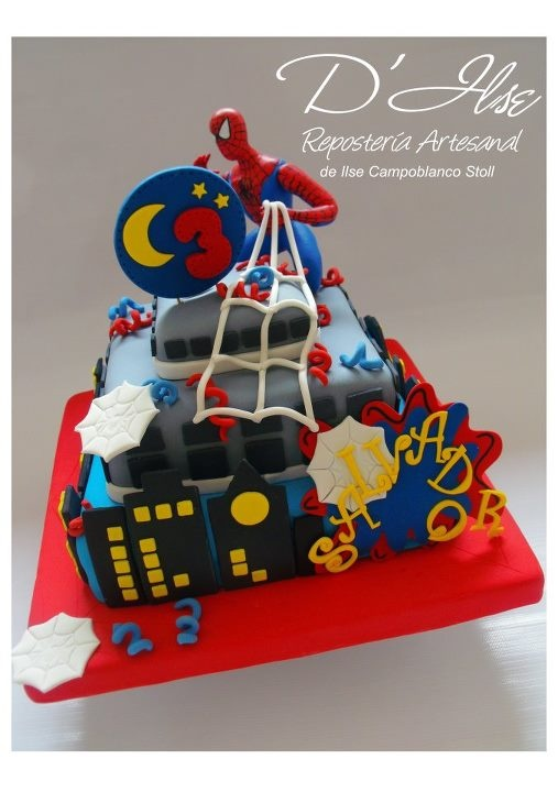 TORTAS DECORADAS INFANTILES - De niños: Cakes S Cupcakes, Spiders Men Cakes, Cakes 9 Marvel, Kids Cakes, Photo, Fiestas Spiderman, Spiderman Cakes, Birthday Cakes, Children Cakes