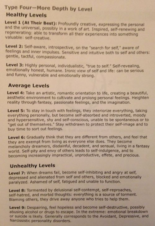 Enneagram 4 Health levels -- I do struggle with the middle, lower to 7 at times..
