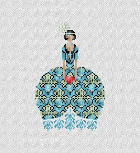 Deco girl with heart. PDF Cross Stitch Pattern. $4.00, via Etsy.