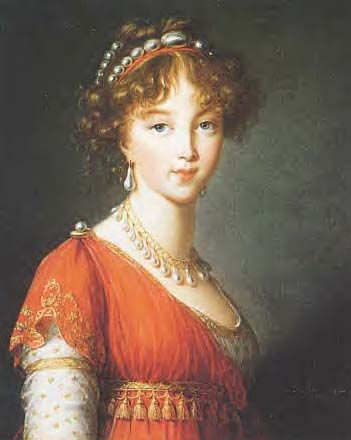 Portrait of Elizabeth Alexeievna by Louise Elizabeth Vignee Le Brun: Elizabeth Alexeievna, Lady Fashion, Regency Fashion, Regency Era, Pearls Earrings, Brown, Portraits, Lebrun, Historical Hairstyles