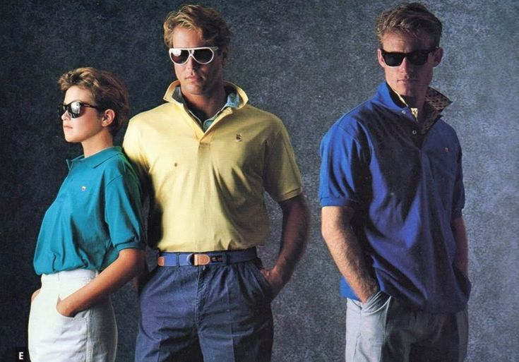 The preppy style that became popular during the 1980s:  lacoste/polo shirts, d-ring belts, and deck shoes
