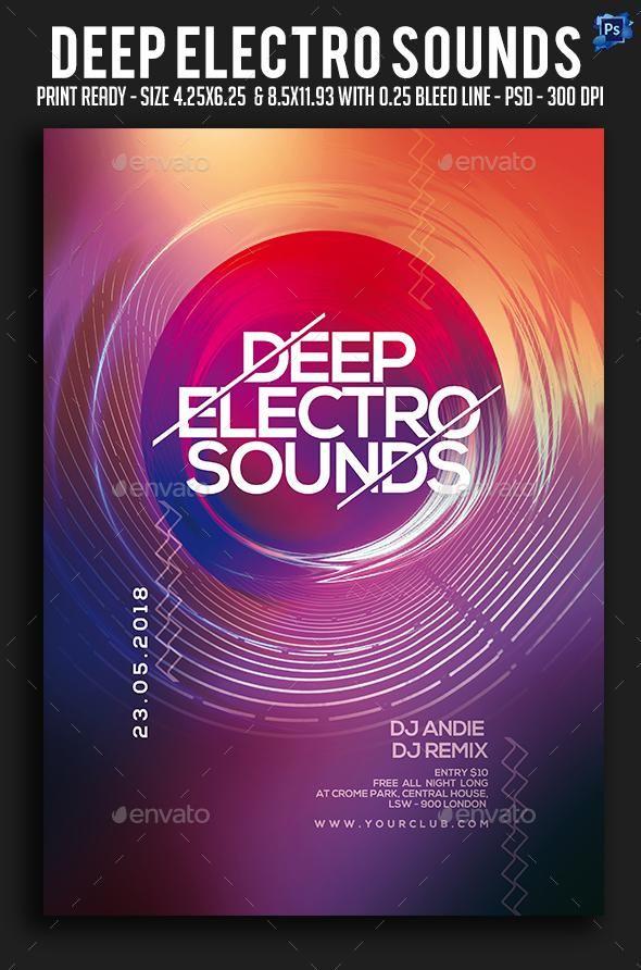deep electro sounds party flyer envato market flyer