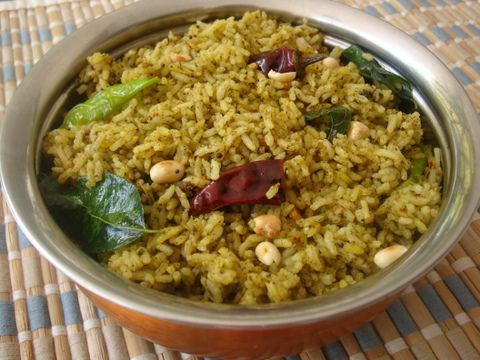 Gongura Pulihora - Spiced Red Sorrel Leaves Rice » All Recipes Andhra Recipes Green Leafy Vegetables Indian Rice recipes Indian Vegan Recipes Indian Vegetarian Recipes Indian Food Recipes | Andhra Recipes | Indian Dishes Recipes | Sailu's Kitchen