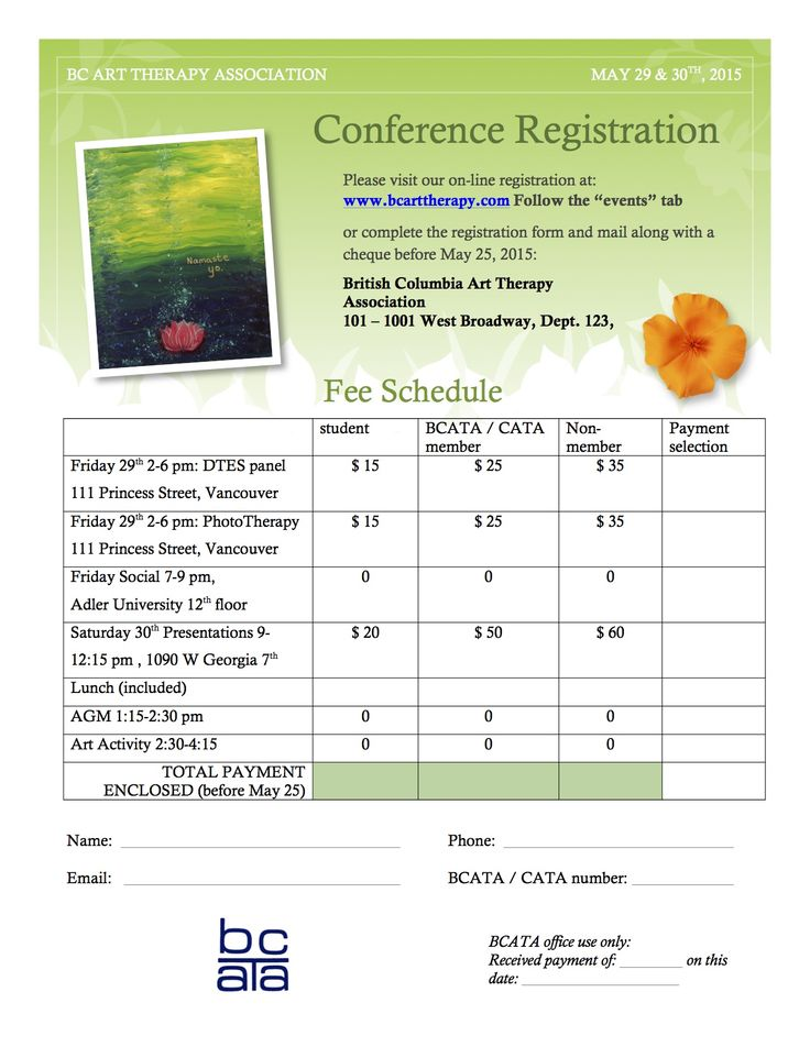 May 29 & 30 BCATA Conference Registration www.facebook.com/BCArtTherapyAssociation