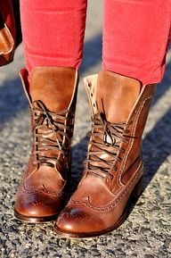 leather lace up oxford boots. I normally hate oxfords with a passion. But these are cute! ^_^