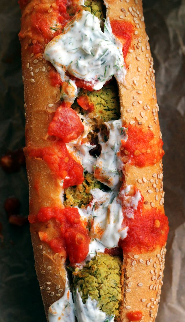 Baked Falafel Hoagies with Harissa Tomato Sauce and Tzatziki via Eats Well With Others