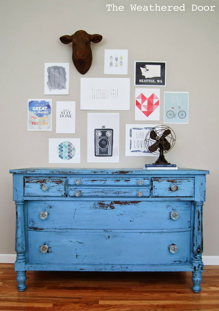 The Weathered Door: Chippy Blue Empire Dresser in MMS Milk Paint