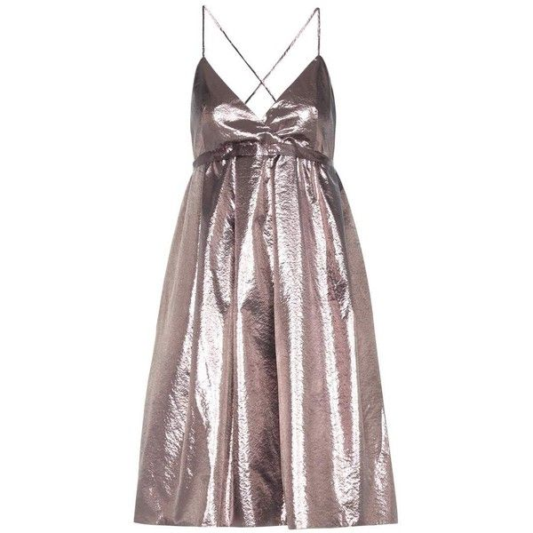 Victoria Victoria Beckham Metallic Dress ($605) ❤ liked on Polyvore featuring dresses, vestidos, silver, metallic dress, purple dresses and victoria victoria beckham dress