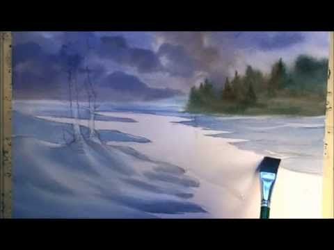How to paint a winter landscape - YouTube