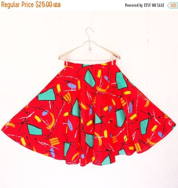 ON SALE Vintage Full Circle Red Skirt Bright Red by LesCharmantess