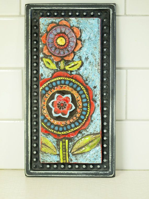 Mosaic Art Mosaic Art Tile Wall Art Boho Art Two Blossoms Mosaic Framed Art  Colorful Whimsical Pottery Colorful Home Decor Gardener Gift