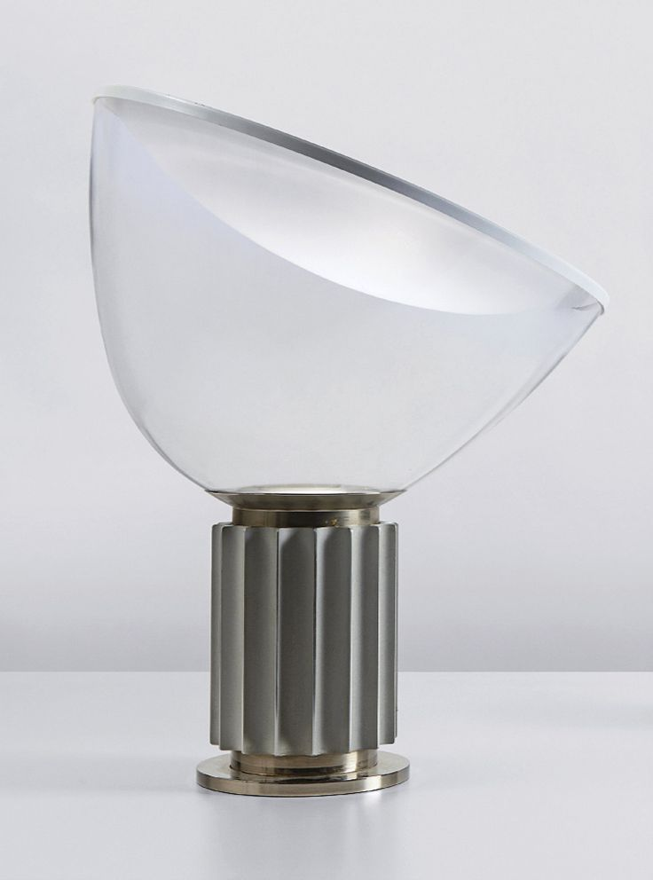 ACHILLE CASTIGLIONI AND PIER GIACOMO CASTIGLIONI,Taccia table lamp, designed 1962.Enameled spun aluminum, polished spun aluminum, lacquered metal and clear blown glass.Manufactured by Flos, Italy.