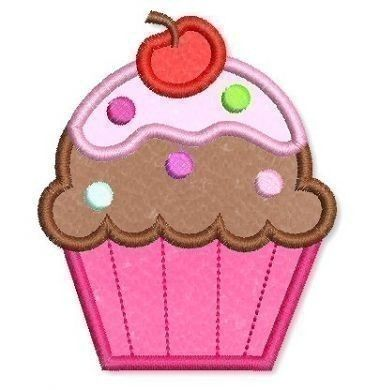 Applique CUPCAKE 2  4x4 5x7 6x10  Machine by LynniePinnie on Etsy, $2.99