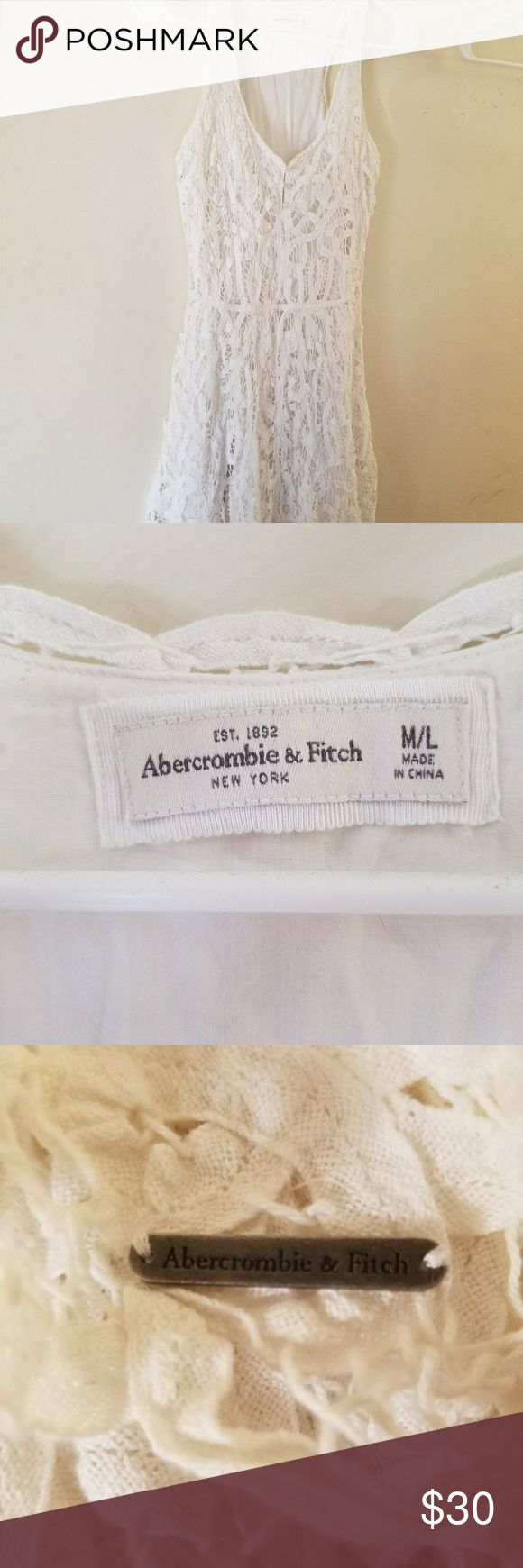 Beautiful off white Abercrombie and Fitch dress Lace over and slip under. Off white. Rrectly brand new Abercrombie & Fitch Dresses Asymmetrical