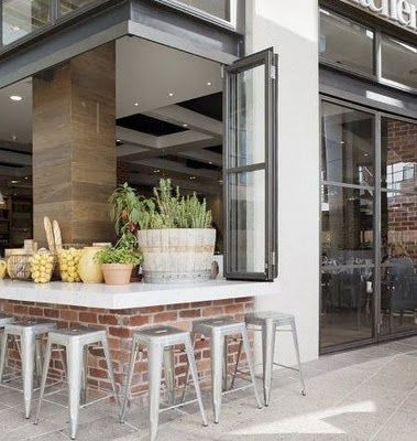 INDOOR- OUTDOOR kitchen - add windows that open and a bar to one side of the kitchen