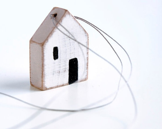miniature House minimalist necklace wooden by KarolinfelixDream, €17.00