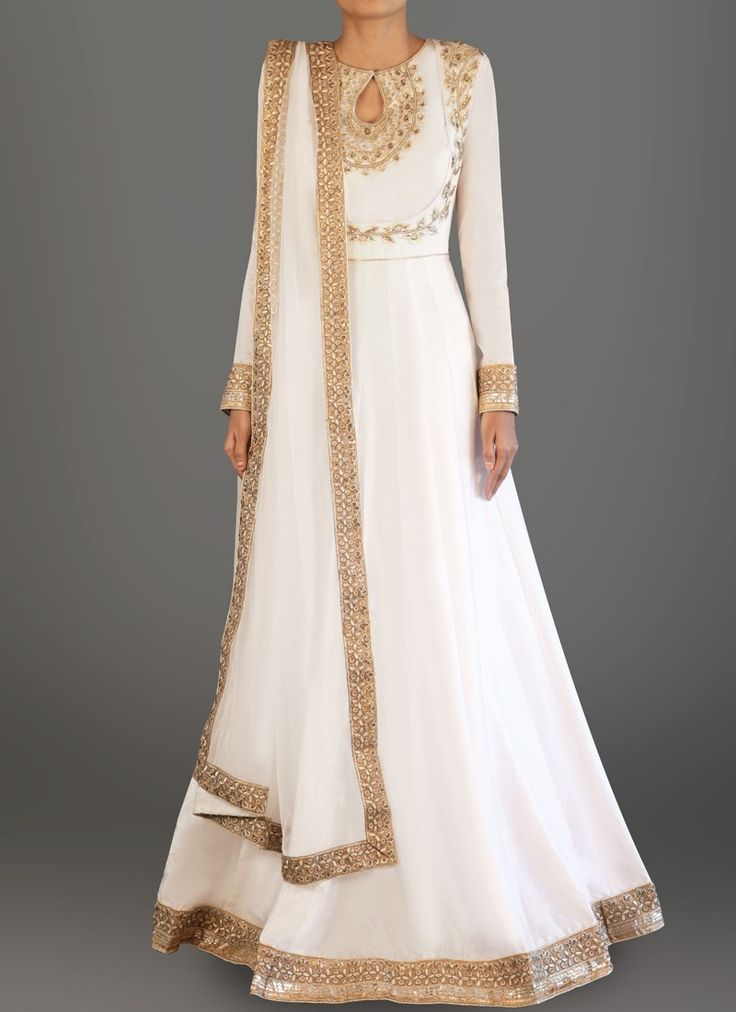 White and Gold Embroidered Dhupioni Silk Anarkali
