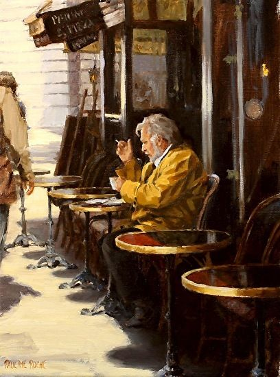 At the Cafe by Pauline Roche Oil ~ 12 x 9