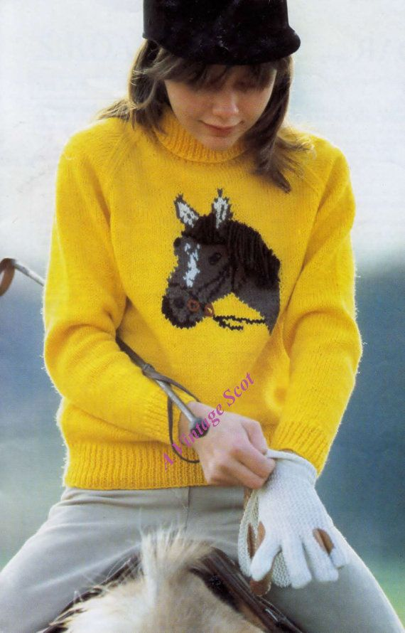 Chidrens /Teen DK 8ply Light Worsted Sweater / Jumper with horse motif sizes 26 - 36 ins - PDF of Vintage Knitting Patterns YOU WILL RECEIVE  A PDF file (4 pages) of the original enhanced vintage pattern. A PDF file (1 page) Handy Hints and Conversion details.    This pattern is an INSTANT DOWNLOAD pattern. You will receive an email immediately following your confirmed payment, which will include your download link and information.    Each pattern I sell has been enhanced, enlarged ...