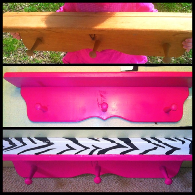 Hot pink and zebra shelf I painted for the girls room!