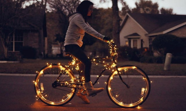 I think it would be AMAZING if a quirky bride and groom left their wedding on lit up bicycles! #wedding #idea: Lights, Bicycles, Bike Light, Ideas, Stuff, Fun, Things, Photography