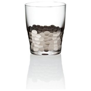Transitional Cups And Glassware Paillette Platinum Double Old Fashioned Glass