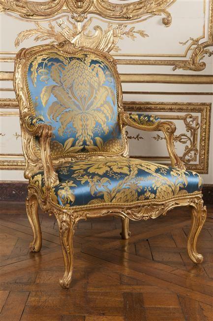 Rococo - alrededor 1755, silla de la reina - silla del salón de madame de Pompadour en el castillo de Crécy