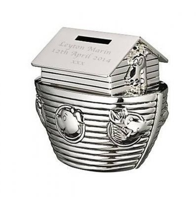 Silver Plated Noah's Ark Money Box. £29.99 #ChristeningGifts #PersonalisedChristeningGifts #Christening #NoahsArk #MoneyBox #PersonalisedMoneyBox