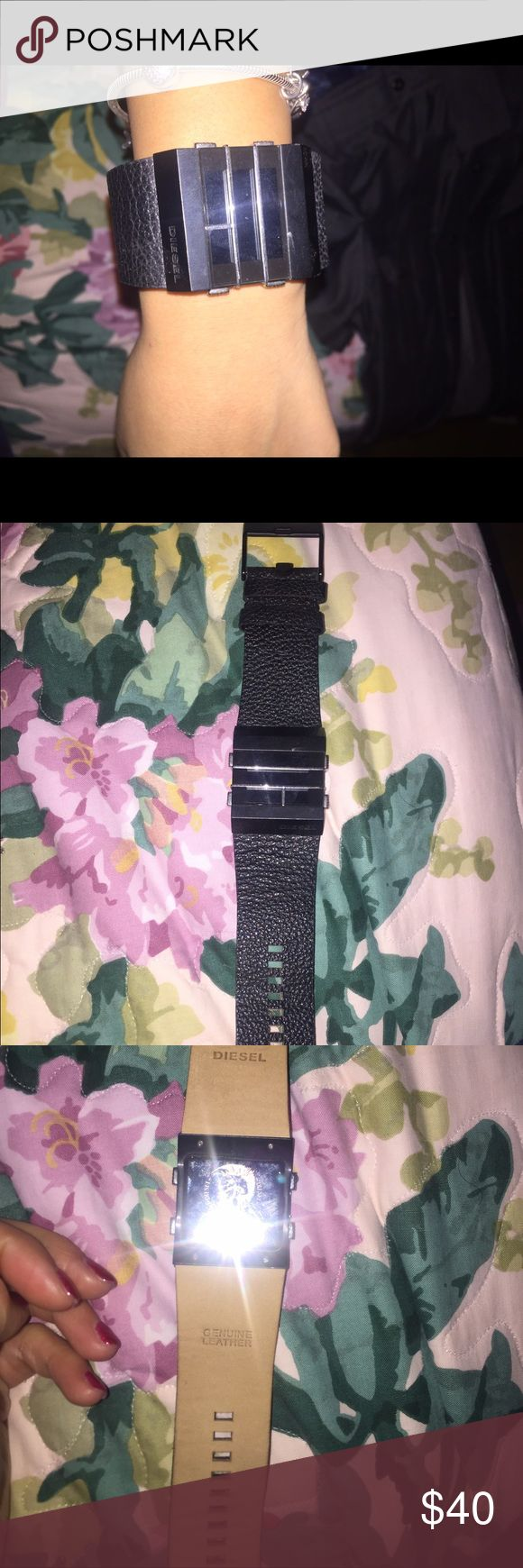 Genuine leather unisex diesel watch Beautiful diesel black leather watch. Good condition. Will need battery Diesel Accessories Watches