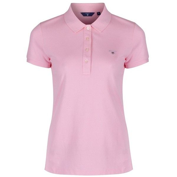 Women's GANT Original Pique Polo Shirt (465 SEK) ❤ liked on Polyvore featuring tops, pink polo shirts, polo tops, gant, polo shirts and pink tops