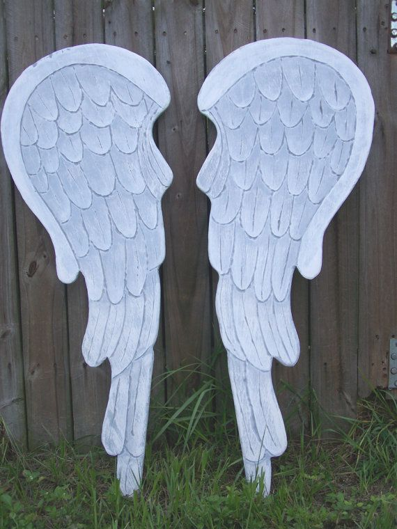 Wooden Angel Wings 30 inches Carved Distressed Grey by HeatherMBC, $80.00