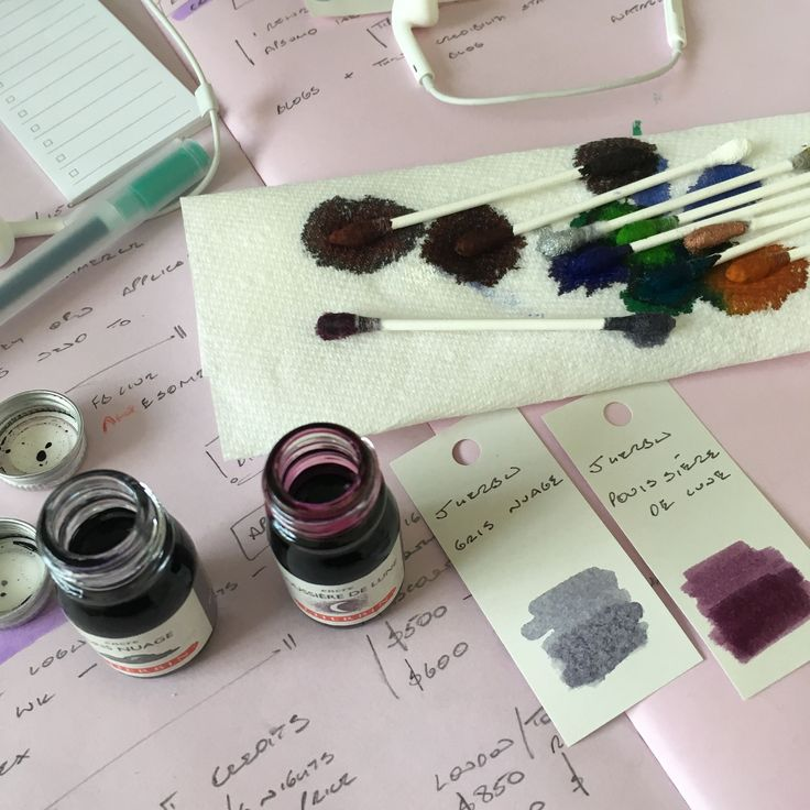 When I travel I tend to only take a little ink with me. I can't really justify taking huge bottles all over the place. So small sizes are perfect - I get to carry two colours with me and to not be completely restricted to one colour.  And where there are small sample bottles there's the joy of making swap tests. I use the Muji paper ring to have a different colour on each page (there's an ink test version of these I've seen on Insta. But I've been using this cheapie from Muji for a decade…