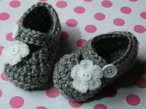 Crochet baby shoes Gray and white baby girl mary janes shoes slippers white flower newborn 0-3 3-6 baby girl gift. $17.99, via Etsy.