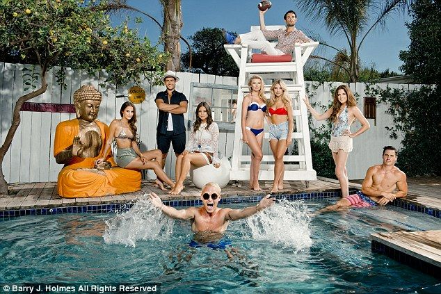 The MIC #MadeInChelsea #E4 #TV gang, from left: Lucy Watson, Alik Alfus, Louise Thompson, Georgia 'Toff' Toffolo, Jess Woodley, Binky Felstead and Josh 'JP' Patterson, with Mark-Francis Vandelli in the lifeguard chair and Jamie Laing in the pool