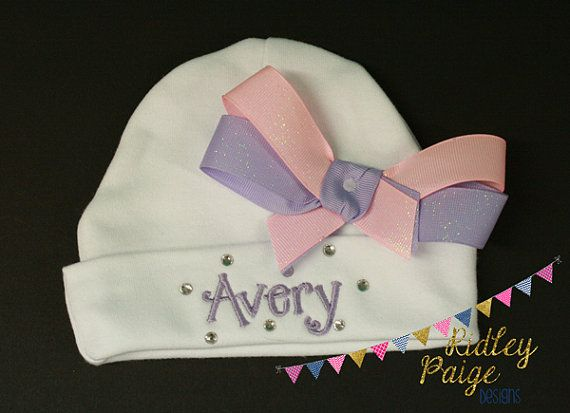 Monogram Baby Girl Beanie, Girl Hospital Hat, Newborn Layette Cap, Personalize Girl Beanie Rhinestone, Pink Purple, Custom Infant Hat Bow   P R O D U C T ∙ I N F O R M A T I O N  • The name is embroidered on the front fold of the beanie. The bow is formed and sewn onto the beanie