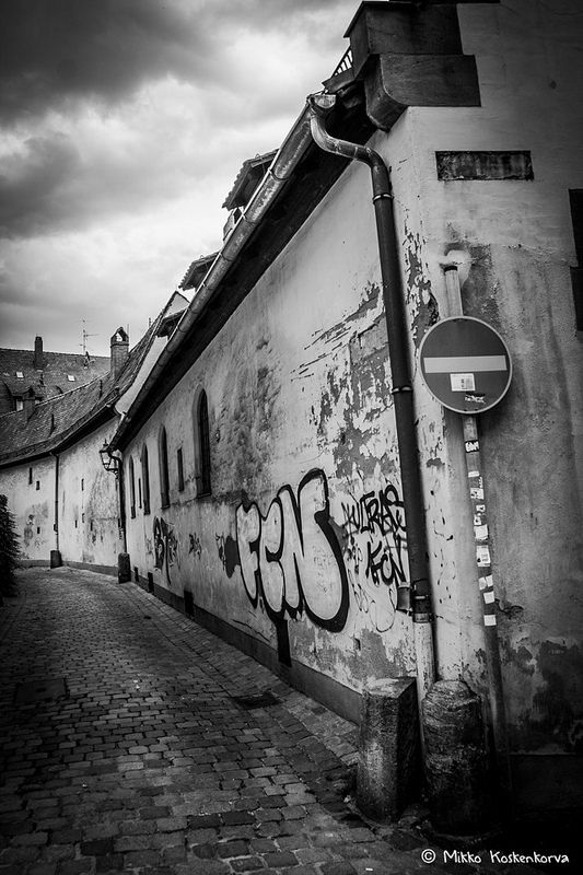 Nice back alley in Nuremberg, Germany