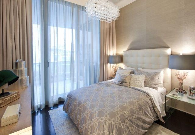 Fensterfront Schlafzimmer Kleiner Raum Neutrale Farben Creme Grau ... Schlafzimmer Kleiner Raum