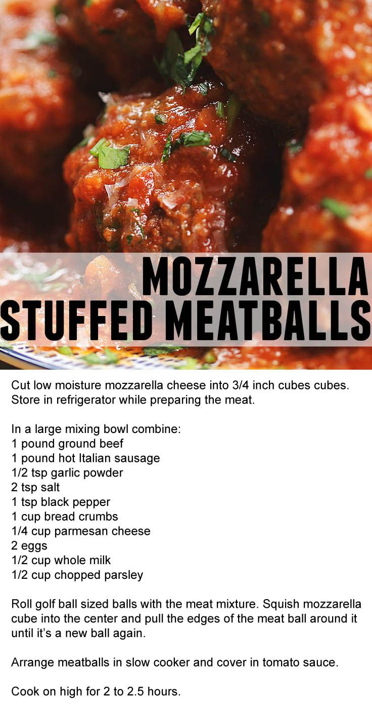 Mozzarella-Stuffed Slow Cooker Meatballs